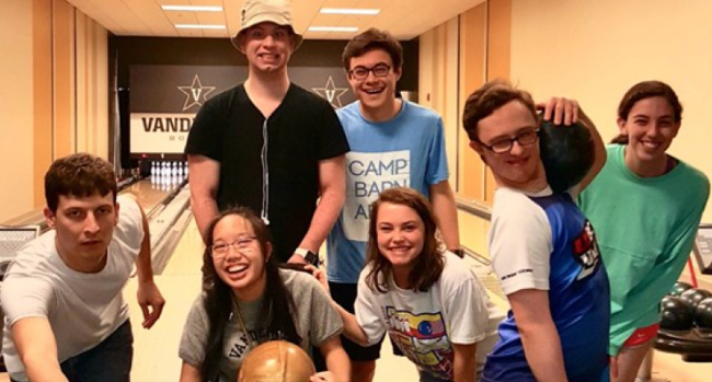 Next Steps and Vanderbilt students bowl together at the Recreation and Wellness Center. (Vanderbilt University)