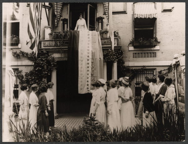 When Tennessee, the 36th state, ratified, Alice Paul, national chairman of the Woman's Party, unfurled the ratification banner from Suffrage headquarters. (Photograph retrieved from the Library of Congress)