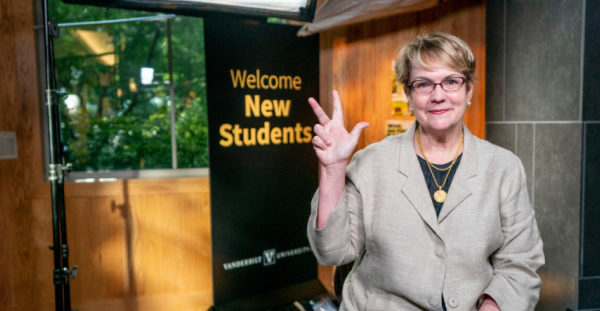 Vanessa Beasley, vice provost for academic affairs and dean of residential faculty, served as host for this year's virtual Founders Walk. (John Russell/Vanderbilt)