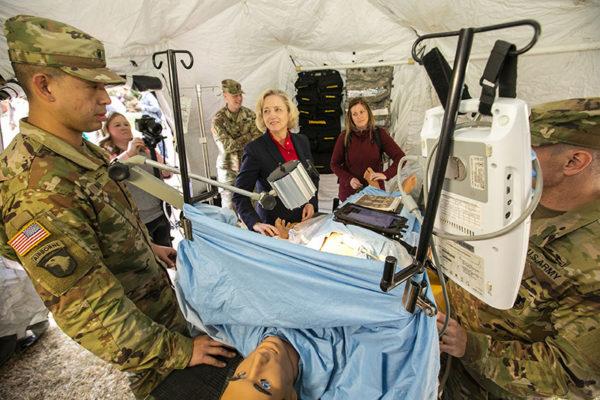 photo of Susan Wente and Mandi Mizner in a U.S. Army medevac tent