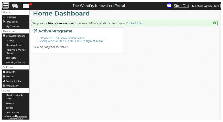 Screen shot of the Wond'ry Innovation Portal
