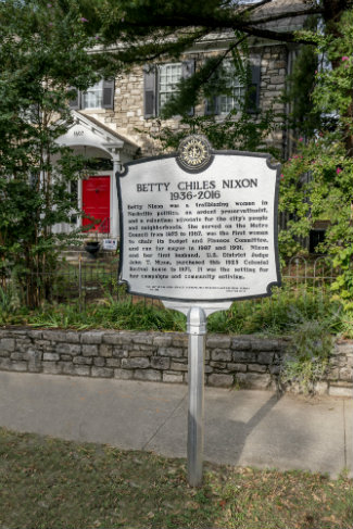 Metro historical marker outside of Betty Nixon's former home