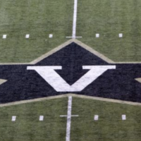 The Star-V logo on the field at Vanderbilt Stadium.