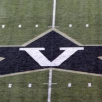 The Star-V logo on the field at Vanderbilt Stadium.