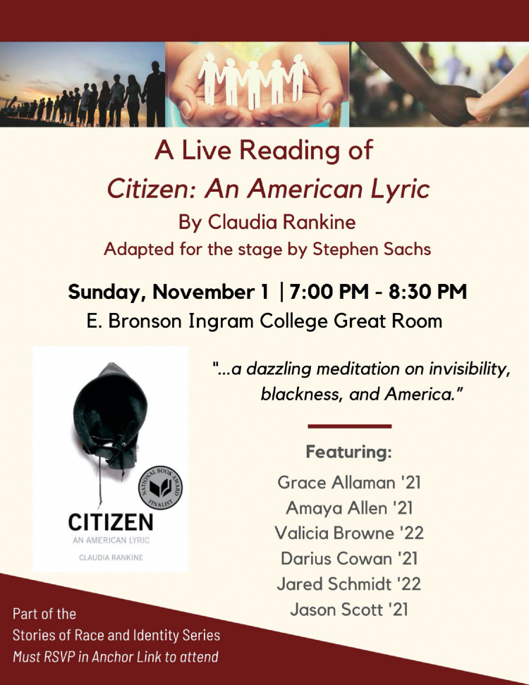 """A Live Reading of """"Citizen: An American Lyric"""" by Claudia Rankine"""