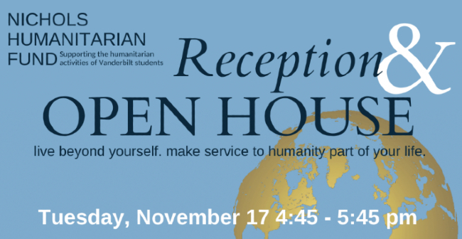 Open house for students interested in Nichols Humanitarian Funding; applications to open Nov. 18, due Jan. 4