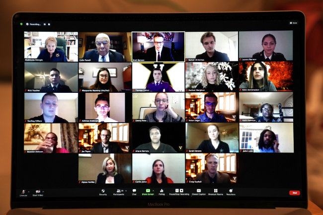 screenshot of Vanderbilt students meeting on Zoom with Madeleine Albright and Colin Powell