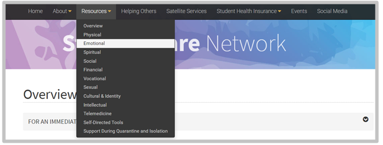 Student Care Network website click options