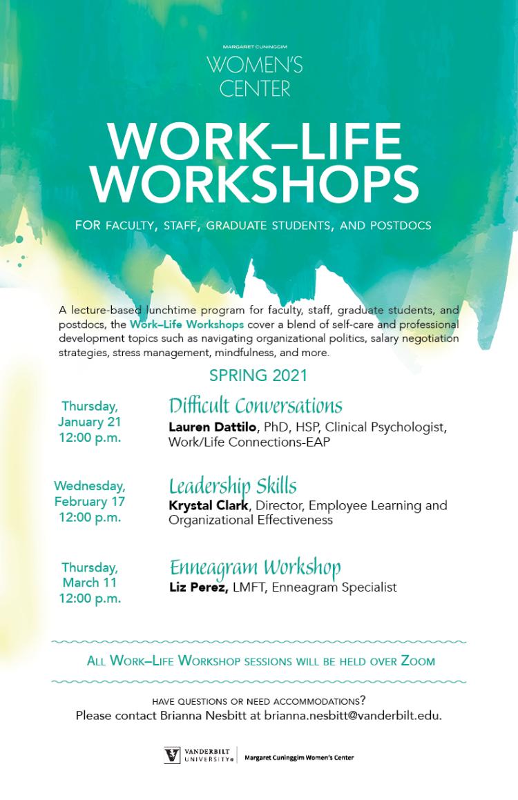 Work-Life Workshops calendar Spring 2021