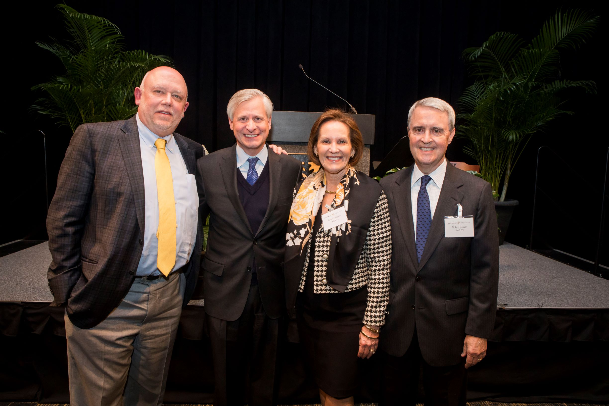 (L-r) Dean John G. Geer, Professor Jon Meacham, Carolyn T. Rogers and Robert M. Rogers in 2019.
