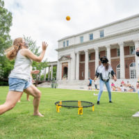 Students play a game on the Peabody campus.