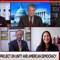 "Willie Geist and Joe Scarborough interview Jon Meacham, Bill Haslam and Samar Ali regarding The Vanderbilt Project on Unity and American Democracy on MSNBC's ""Morning Joe"" on Feb. 4, 2021."