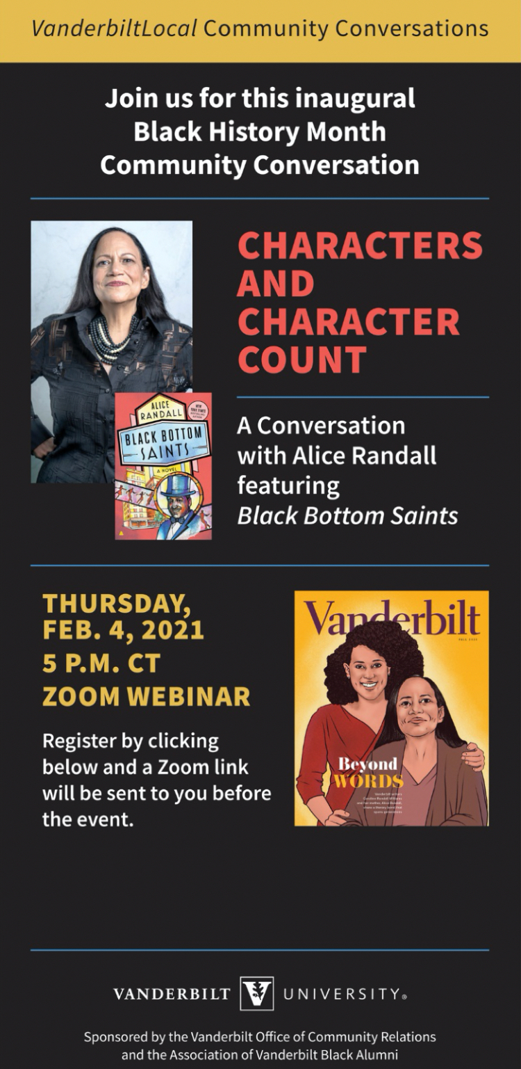 """Alice Randall """"Characters and Character Counts"""" poster"""
