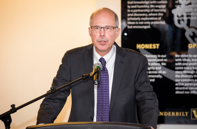Associate Provost and Dean of Students Mark Bandas at the reading of the Vanderbilt Community Creed in 2019.