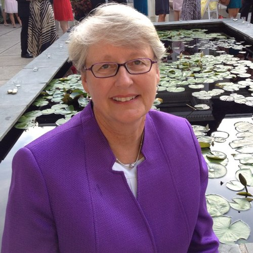 photograph of Sharon Shields in purple jacket