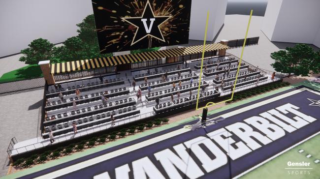 An artist's rendering of the renovated Vanderbilt Stadium north end zone.