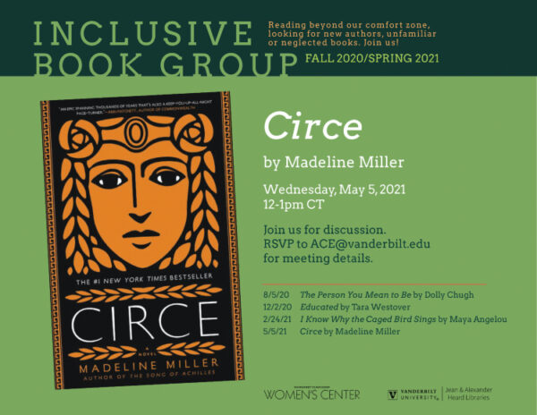 """Inclusive Book Group: Madeline Miller's """"Circe"""" May 5"""