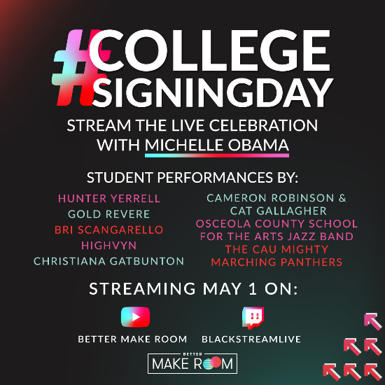 College Signing Day live-streaming celebration with Michelle Obama
