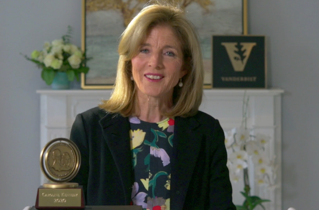 Ambassador Caroline Kennedy gave the 2020 Graduates Day address on April 30, 2021, and received the Nichols-Chancellor's Medal.