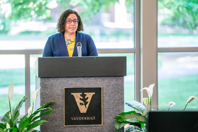 University Staff Advisory Council Vice President and Incoming President for 2021-22 Tiffany Lawrence Givens reflects on the year from a staff perspective during the Spring Staff Assembly May 20.