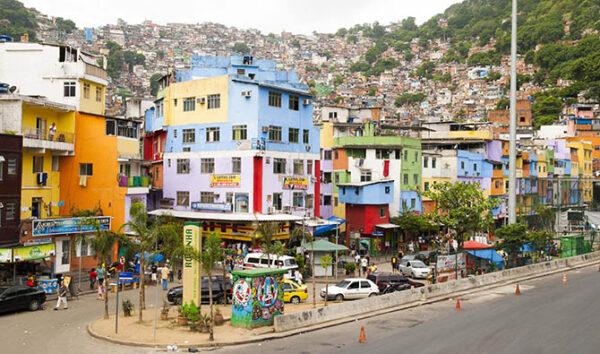 Rocinha, Brazil's largest favela, stretches high up the Rio hillside