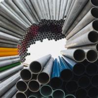 Photo of steel pipes in circular formation