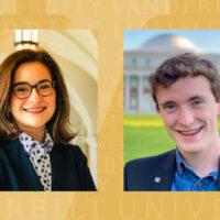 Minna Apostolova and Joseph Sexton, 2021 Goldwater Scholars from Vanderbilt
