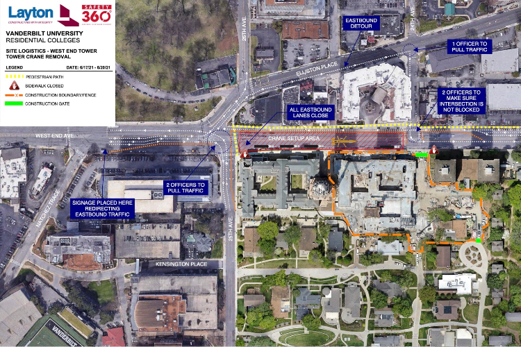 West End Avenue between 24th and 25th avenues will be closed June 17–20 for the removal of a 20-story construction crane used to complete the exterior and masonry work on the West End Tower connected to Nicholas S. Zeppos College.