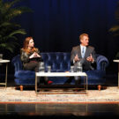 photo of Jeff Flake, Zoe Chace, Chancellor Zeppos and Jon Meacham talking on stage