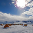 photo of tents on an icy landscape