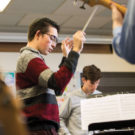 Blair student composer Nicholas Heilborn rehearses his composition with chatterbird chamber ensemble musicians