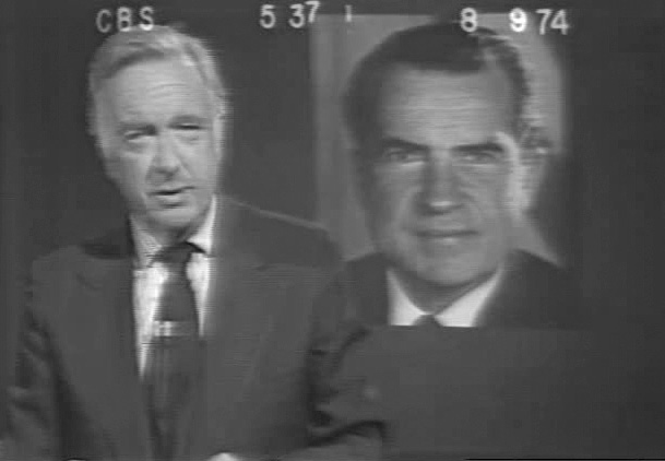 Still image of Walter Cronkite and Richard Nixon