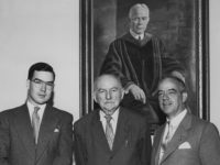 Carr Payne Jr., Edwin Mims, Vanderbilt Professor of English, and Carr Payne Sr. at the dedication of Payne Hall in 1953, with the painting of former Peabody president Bruce R. Payne behind them. Photo courtesy of Vanderbilt University Special Collections