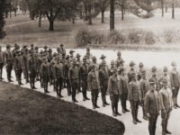 Student Army Training Corps members in line near Kirkland Hall, c. 1917–18 (Vanderbilt Special Collections and University Archives)
