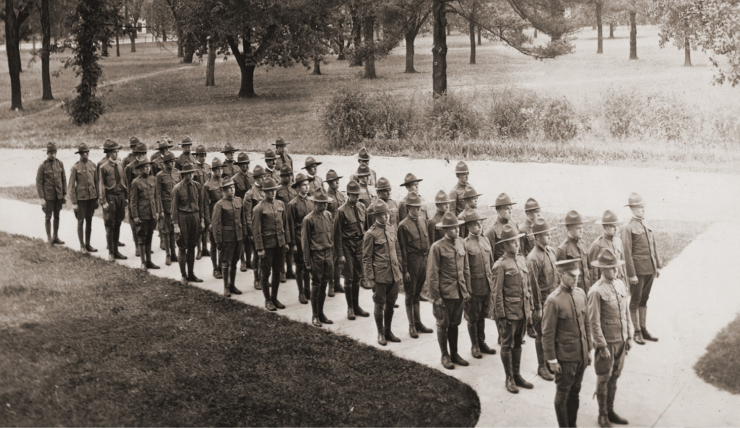 photo of Student Army Training Corps members during WWI