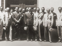 In this undated photo, members of Equitable Securities Corp. gather in front of the company's Nashville office. The picture is among the items collected by J. Dewey Daane.