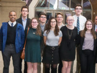 The first Vanderbilt cohort of A. James Clark Scholars—all first-year engineering students—gathered last November for a dinner at which they met Courtney Clark Pastrick (far left), who chairs the Clark Foundation board, and were able to tell her in person about the impact of the scholarship in their lives. (SUSAN URMY)