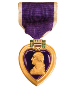 This Purple Heart medal was awarded to Vanderbilt student John Manchester, who served during World War II.