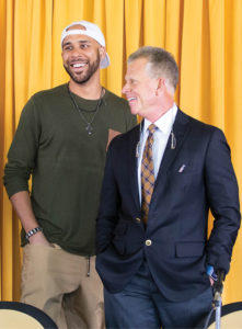 The announcement of Red Sox pitcher David Price's capstone gift in November brought the Vanderbilt Baseball community together at the site of the new facilities  under construction. Pictured here are Price and Coach Tim Corbin. (JOE HOWELL)