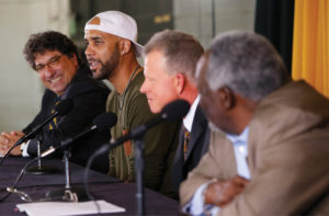 Zeppos, Price, Corbin and Vice Chancellor David Williams during the press conference (JOHN RUSSELL)