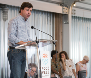 Taylor speaks about his work on the board of directors of Atlanta nonprofit Food Well Alliance, which connects members of Atlanta's local food movement to build healthier communities. Grants from the James M. Cox Foundation helped create the organization, and have helped it grow. (JENNI GIRTMAN)