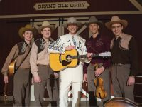 Michael Rinne (far right) as bassist Lum York, with actor Tom Hiddleston  (center) as Hank Williams and members of the film version of Williams' band, The Drifting Cowboys
