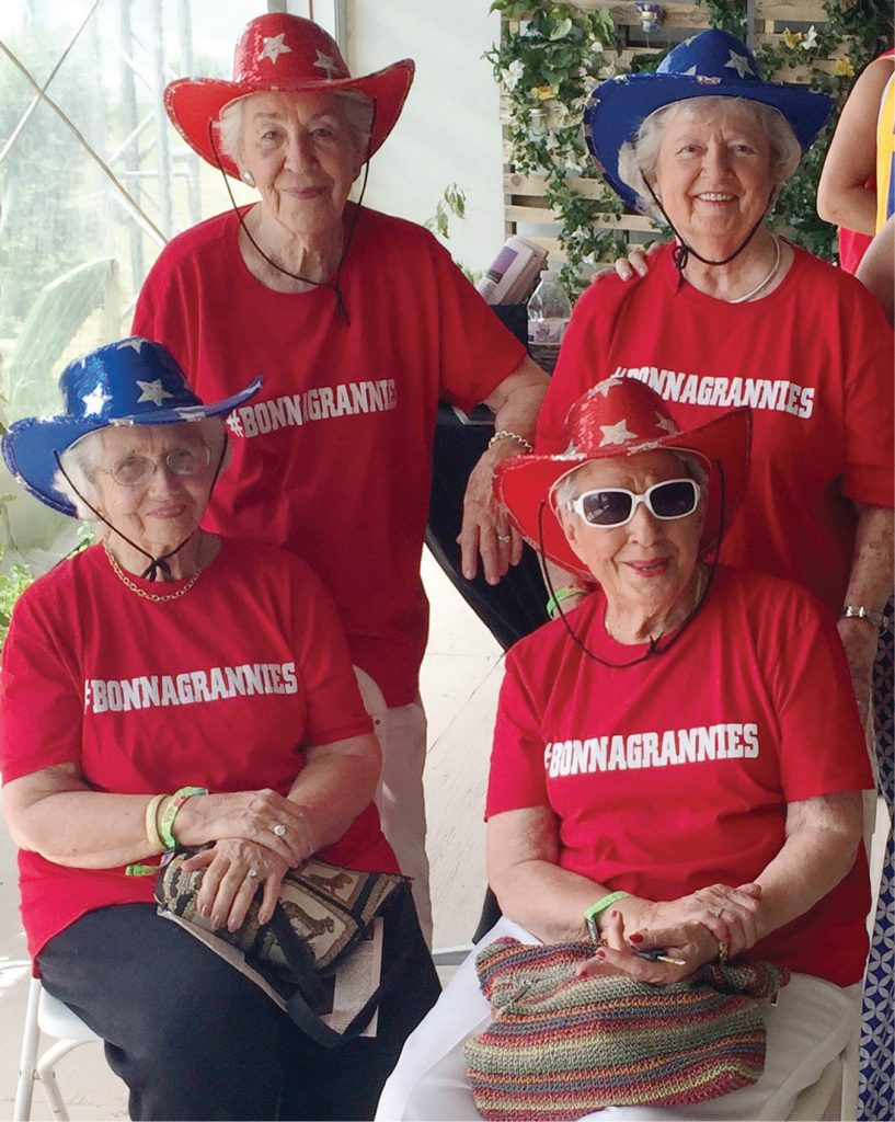 Clockwise, from top left: Laddie Neil, Alice Ann Barge, Mary Niederhauser and Nancy Lee Pitts have been the belles of the ball for the past four years at the Bonnaroo music and arts festival. (COURTESY OF ALLISON OLDACRE)