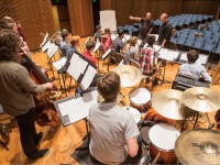 Jeff Coffin and Ryan Middagh work with  the Blair Big Band