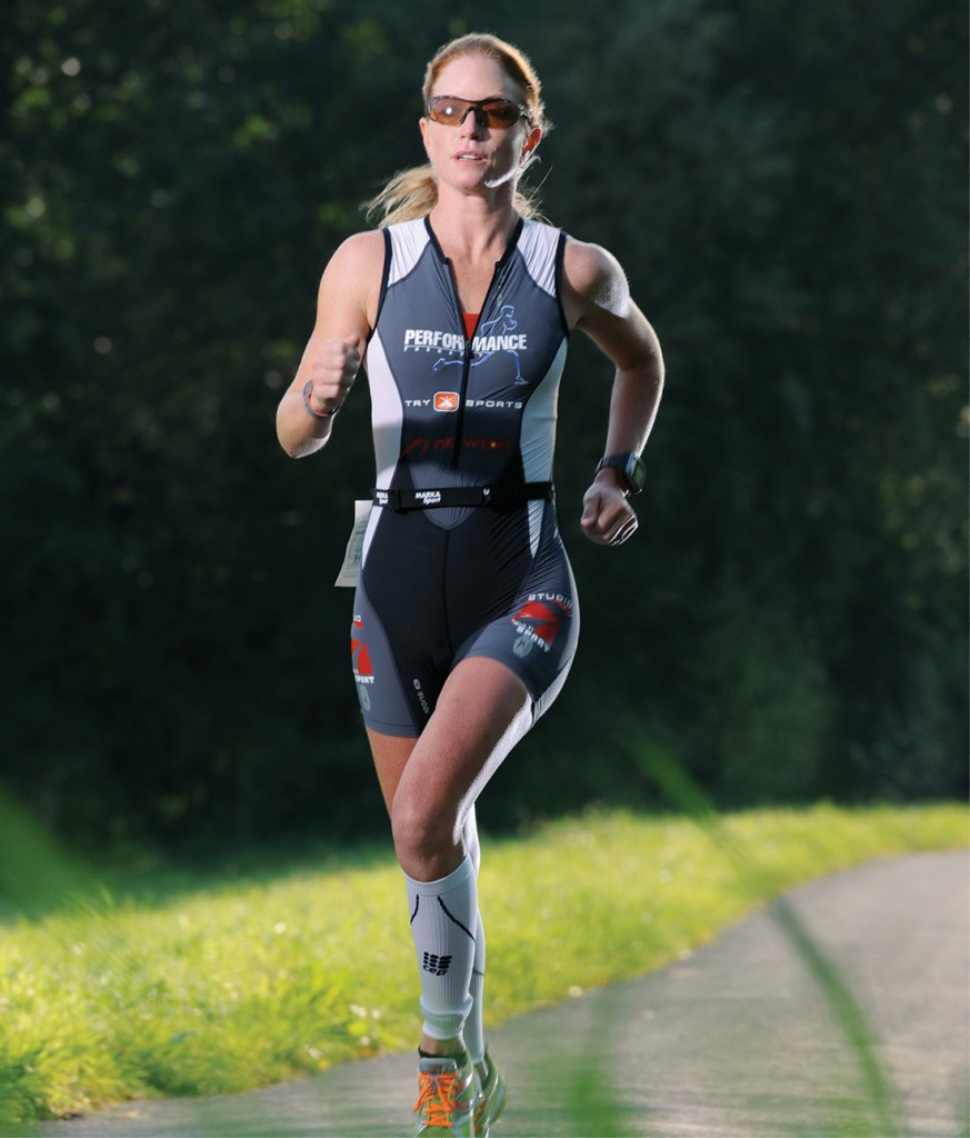 Meredith Dolhare completes the Powerman Zofingen Duathon World Championships in Switzerland. She finished second in the competition that included a 10K run, a 180K bike race, and an additional 30K run. (COURTESY OF MEREDITH DOLHARE)