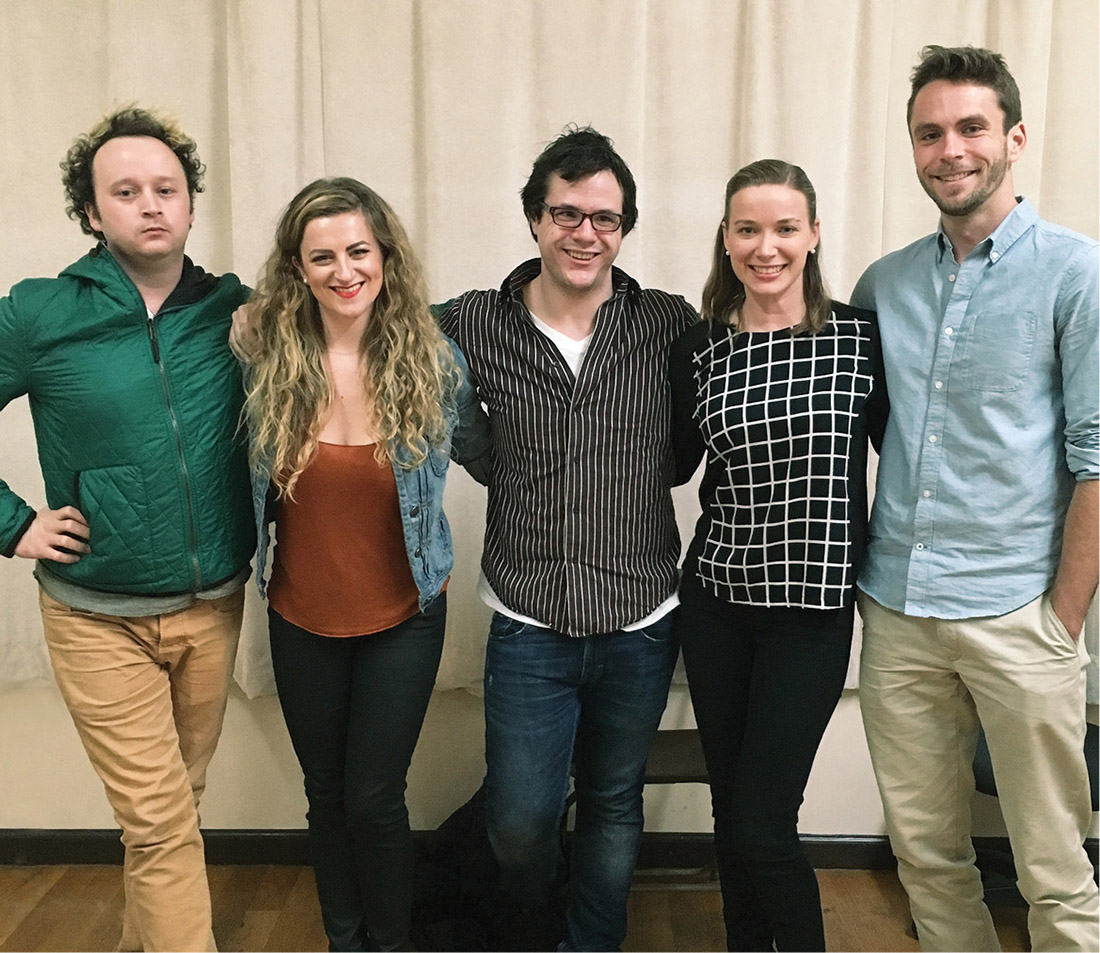 From left) Eli Branson, BA'09; Madeline Fansler, BA'12; Aidan Carr, BA'13; Jessica Owens, BA'12; and Matt Russell, BA'11, workshopped Carr's play May in New York City in November.
