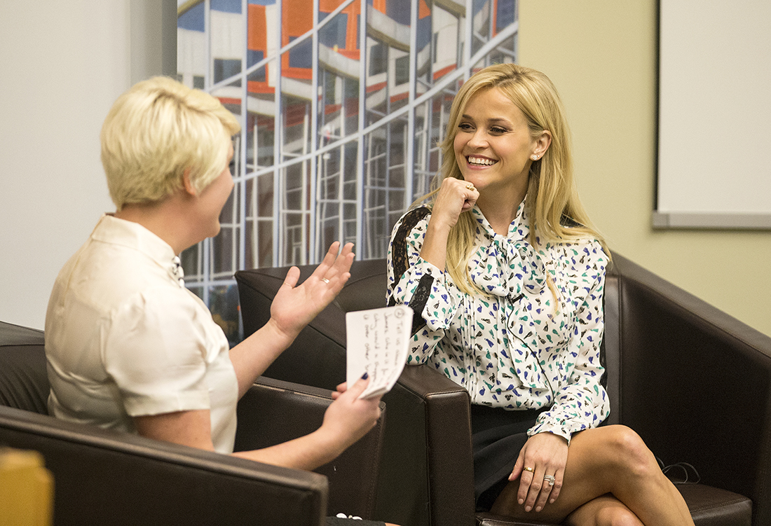 Reese Witherspoon gives a talk to an intimate gathering of students in Averbuch Auditorium at Vanderbilt Owen Graduate School of Management. (JOE HOWELL)
