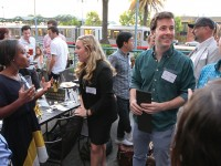 """Coordinated by Chapter President John Tilsch, BA'04, and Eppa Rixey, BE'11, the """"Welcome to San Francisco"""" happy hour in August brought together area alumni and recent graduates who have moved to the city. (NAJIB JOE HAKIM)"""
