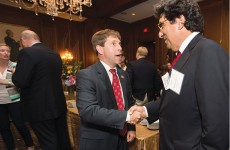 Chancellor Nicholas S. Zeppos, right, speaks with U.S. Rep. Chuck Fleischmann (R-Tenn.) at Vanderbilt's congressional reception  in Washington, D.C.,  in June. (AARON CLAMAGE)