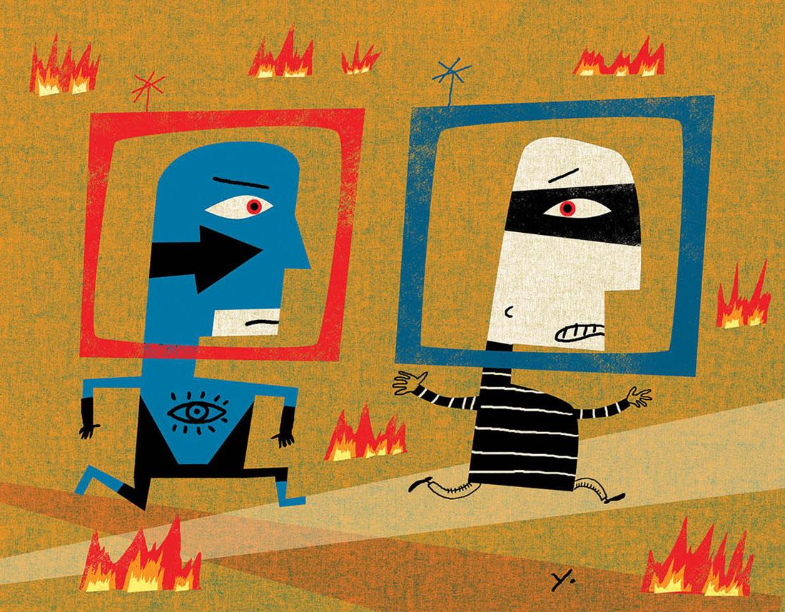 illustration of policeman and criminal